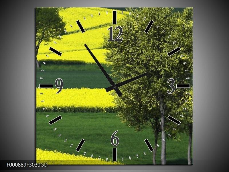 Wandklok op Glas Boom | Kleur: Groen, Geel, Wit | F000889CGD