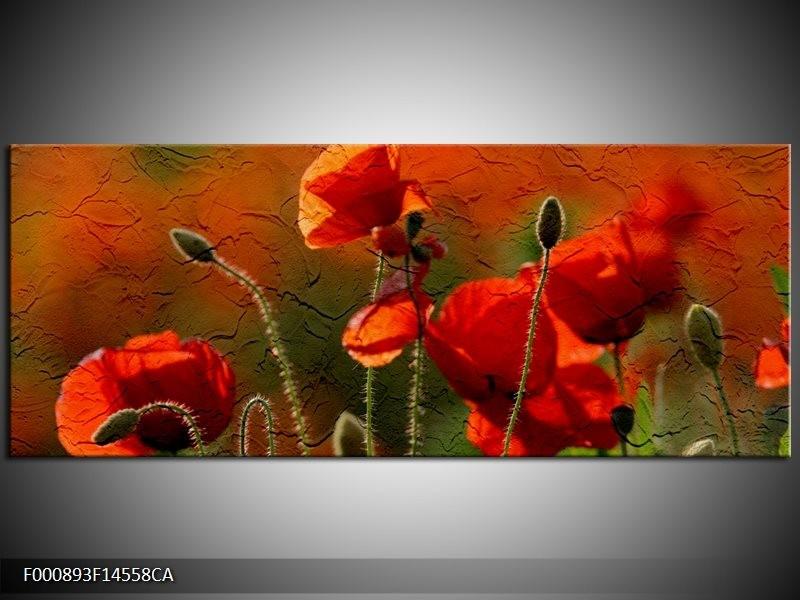 Canvas ART schilderij Klaproos | Rood, Groen | 145x58cm 1Luik