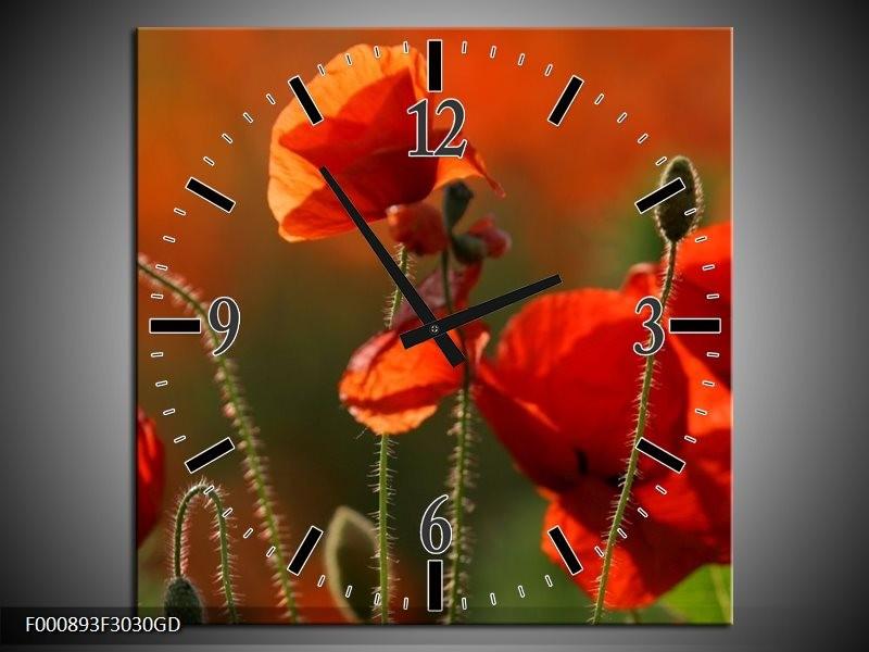 Wandklok op Glas Klaproos   Kleur: Rood, Groen   F000893CGD