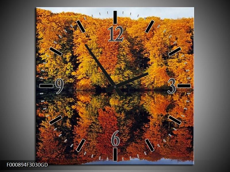 Wandklok op Glas Herfst | Kleur: Oranje, Groen, Geel | F000894CGD