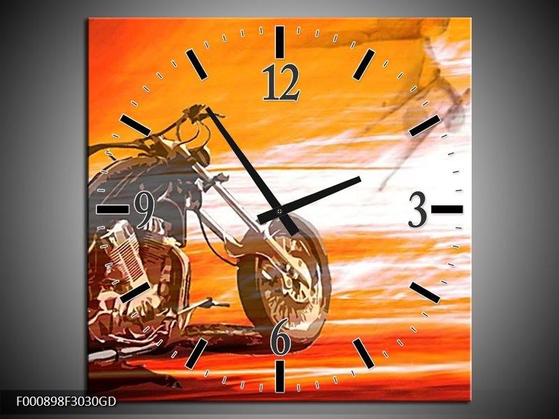 Wandklok op Glas Motor | Kleur: Geel, Oranje, Rood | F000898CGD