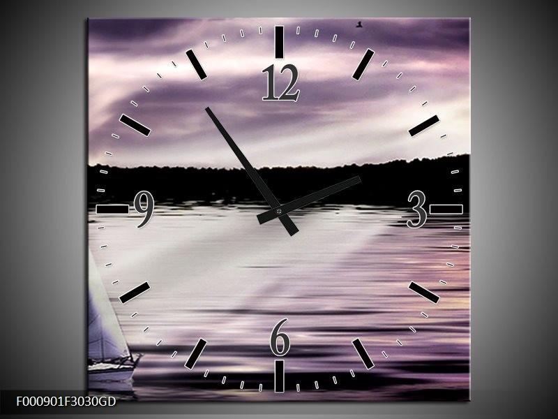 Wandklok op Glas Boot | Kleur: Paars, Zwart, Wit | F000901CGD