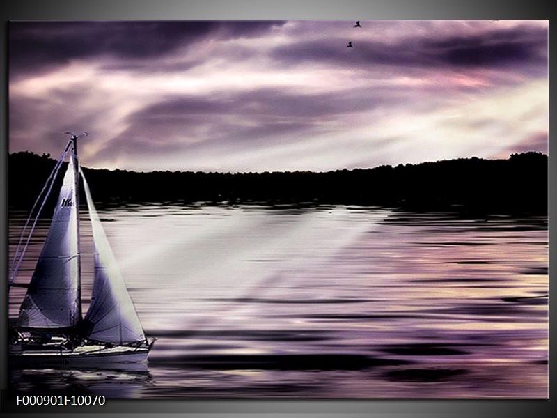 Glas schilderij Boot | Paars, Zwart, Wit