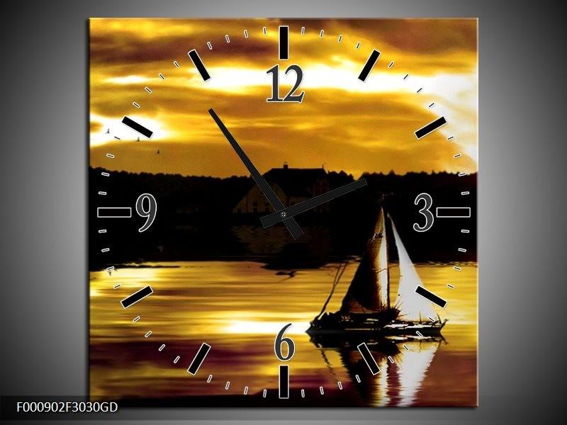 Wandklok op Glas Boot | Kleur: Bruin, Geel, Zwart | F000902CGD