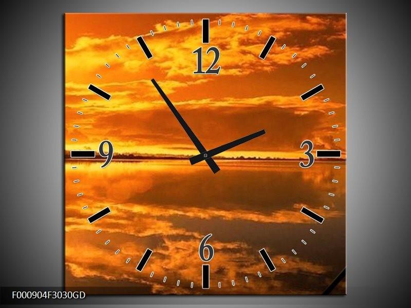 Wandklok op Glas Natuur | Kleur: Oranje, Geel | F000904CGD