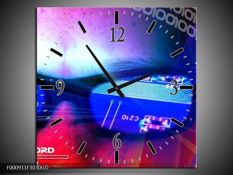 Wandklok op Glas Bril | Kleur: Paars, Blauw, Wit | F000911CGD