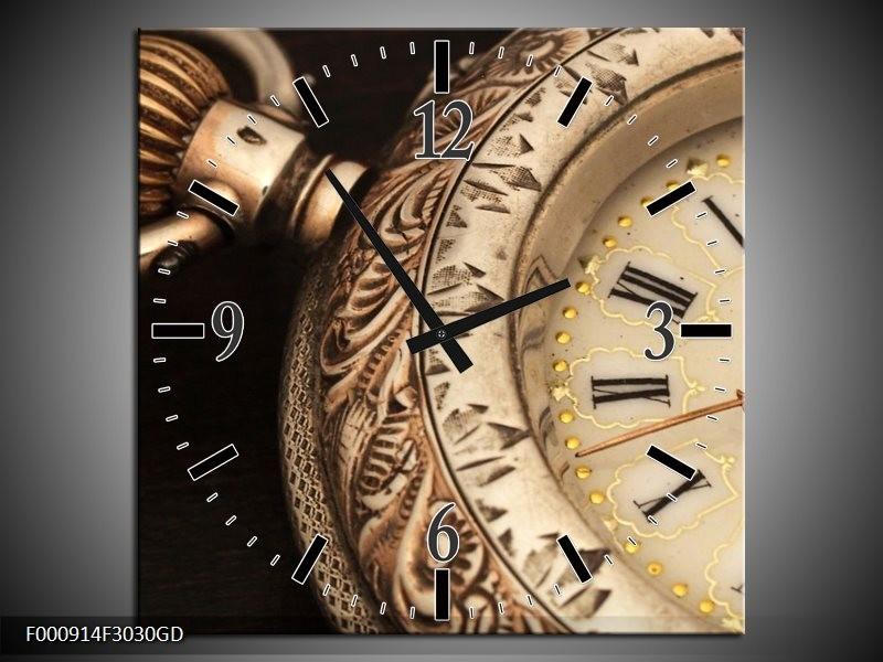 Wandklok op Glas Klok | Kleur: Goud, Zwart, Bruin | F000914CGD