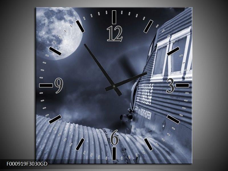 Wandklok op Glas Maan | Kleur: Grijs, Wit, Zwart | F000919CGD