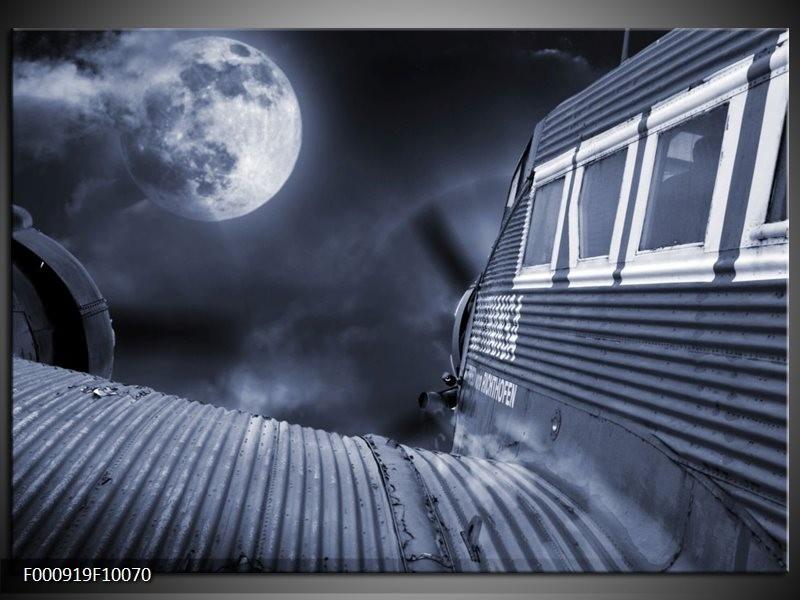 Glas schilderij Maan | Grijs, Wit, Zwart