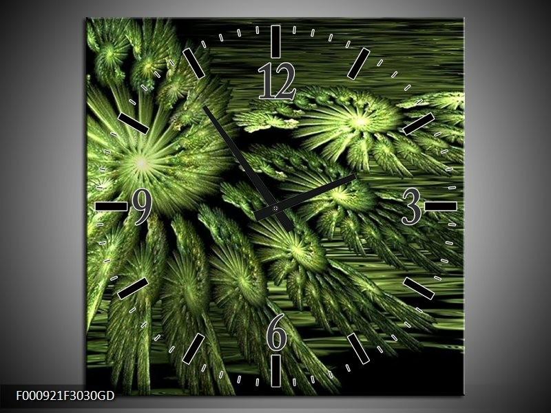 Wandklok op Glas Abstract | Kleur: Groen, Zwart | F000921CGD