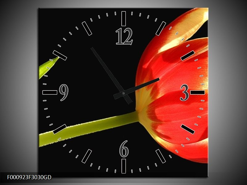 Wandklok op Glas Bloem | Kleur: Rood, Groen, Zwart | F000923CGD