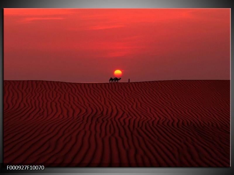 Glas schilderij Woestijn | Rood, Geel, Zwart