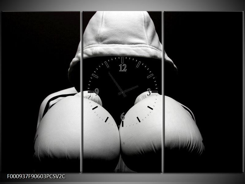 Klok schilderij Sport | Wit, Zwart, Grijs | 90x60cm 3Luik