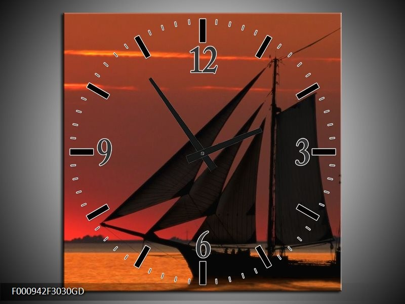 Wandklok op Glas Zeilboot | Kleur: Rood, Oranje, Zwart | F000942CGD