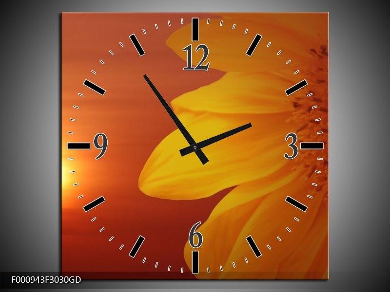 Wandklok op Glas Bloem | Kleur: Geel, Oranje | F000943CGD