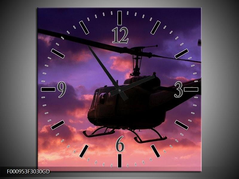 Wandklok op Glas Helikopter | Kleur: Paars, Zwart | F000953CGD