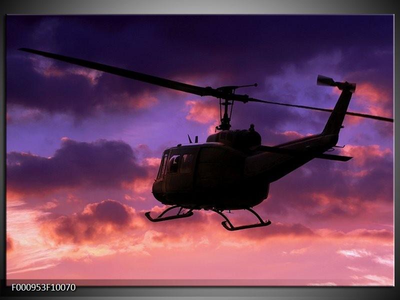 Glas schilderij Helikopter | Paars, Zwart