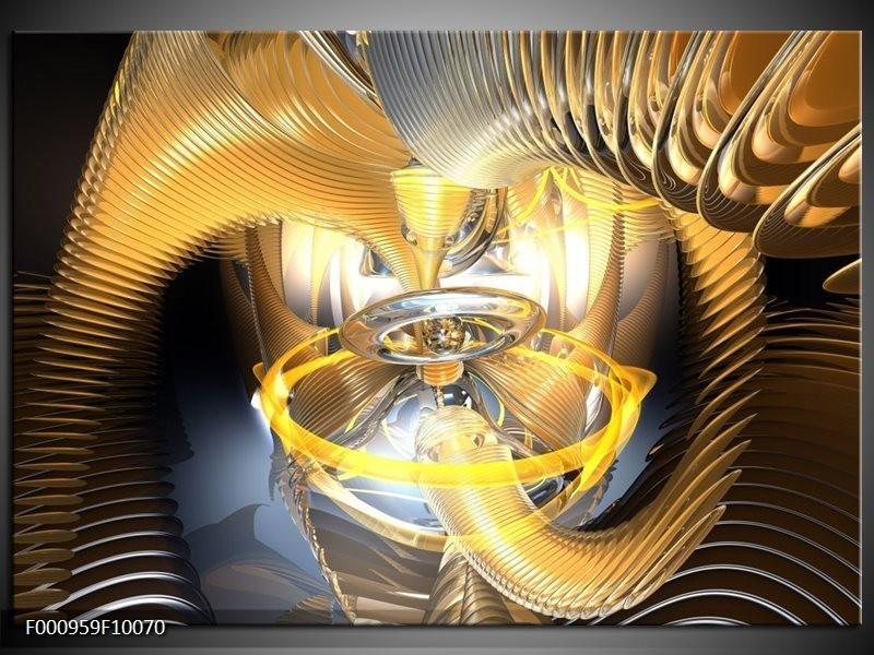 Glas schilderij Abstract   Geel, Goud, Bruin