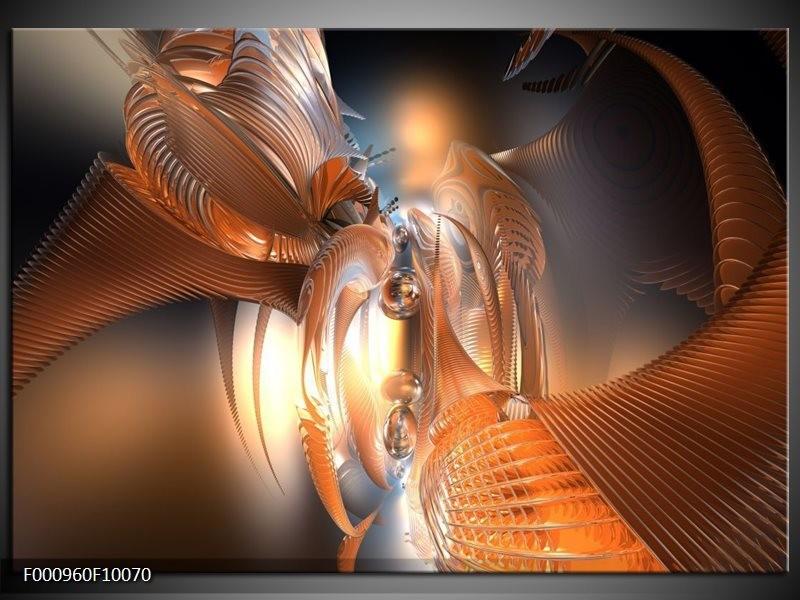 Glas schilderij Abstract | Oranje, Goud, Bruin