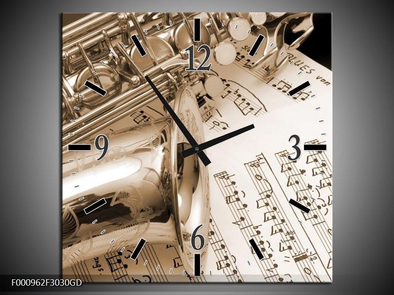 Wandklok op Glas Muziek | Kleur: Wit, Grijs | F000962CGD