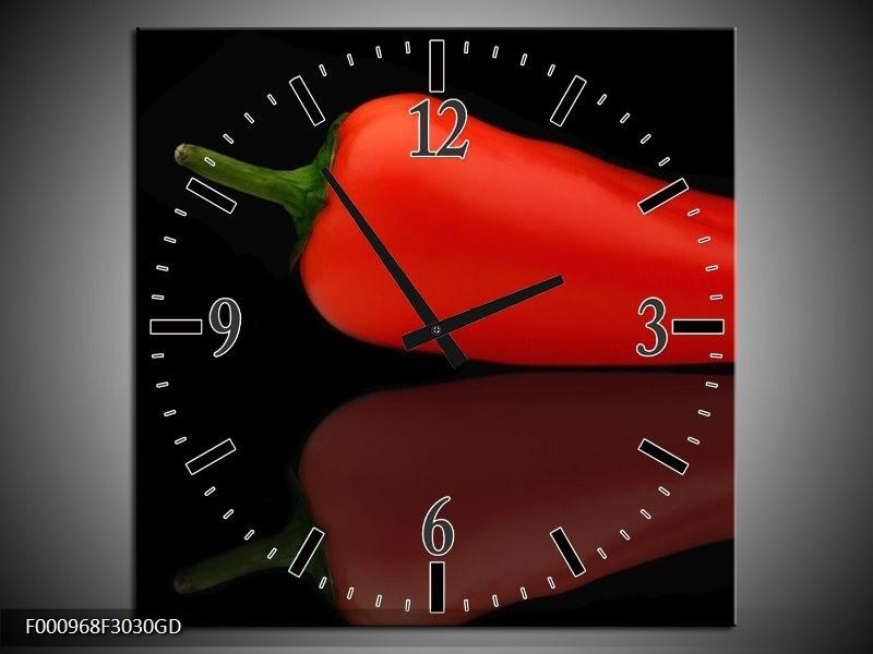 Wandklok op Glas Paprika | Kleur: Rood, Zwart, Groen | F000968CGD