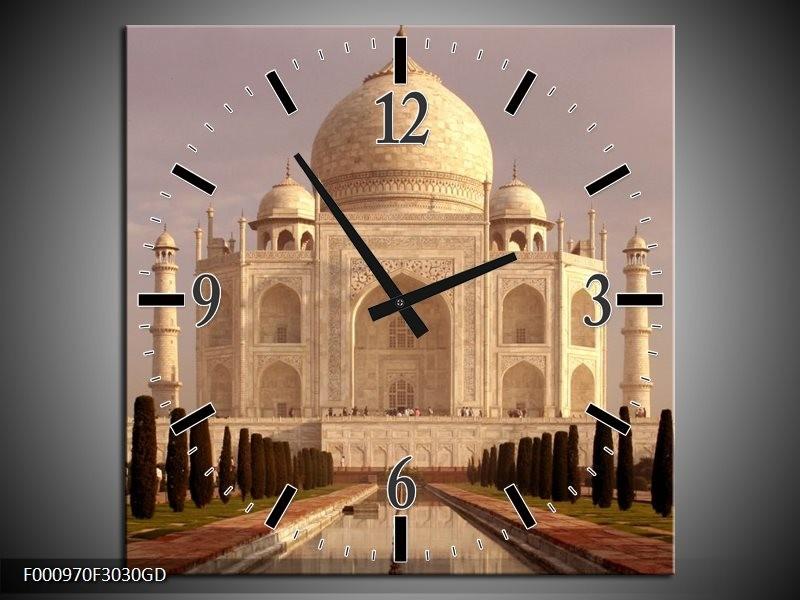 Wandklok op Glas Taj Mahal | Kleur: Wit, Zwart, Creme | F000970CGD