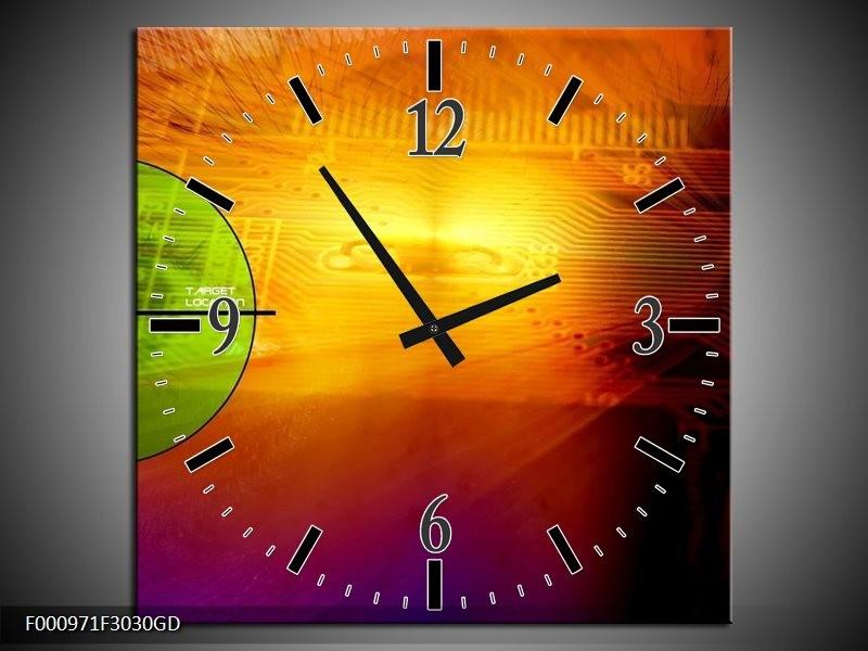 Wandklok op Glas Abstract | Kleur: Geel, Groen, Paars | F000971CGD
