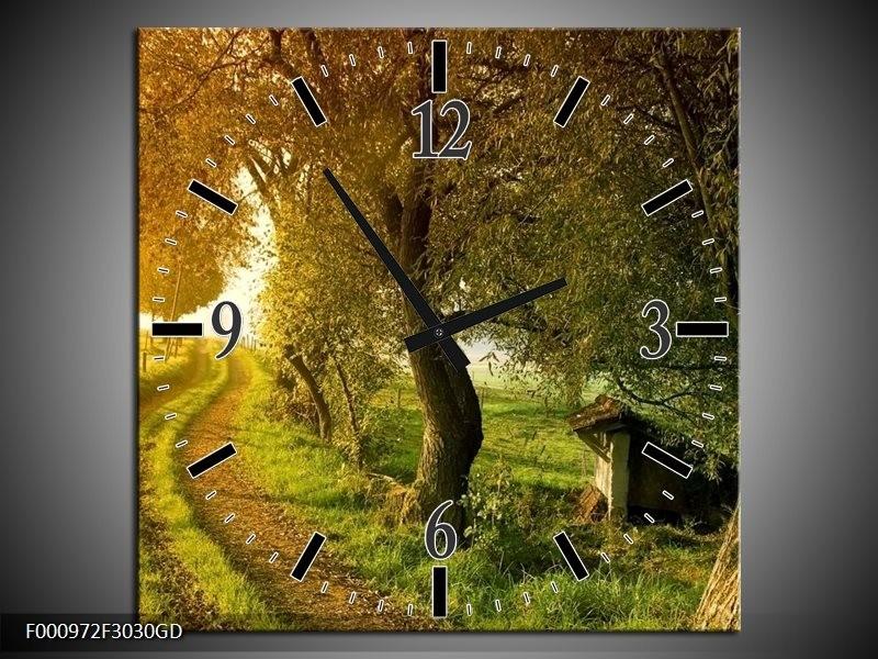 Wandklok op Glas Bomen | Kleur: Groen, Geel, Wit | F000972CGD