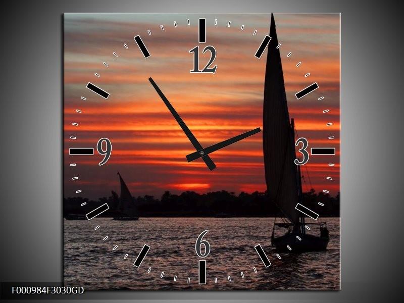 Wandklok op Glas Boot | Kleur: Zwart, Rood, Grijs | F000984CGD
