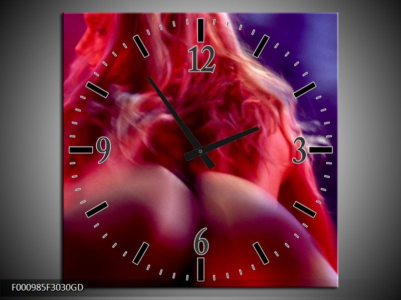 Wandklok op Glas Vrouw   Kleur: Rood, Blauw   F000985CGD