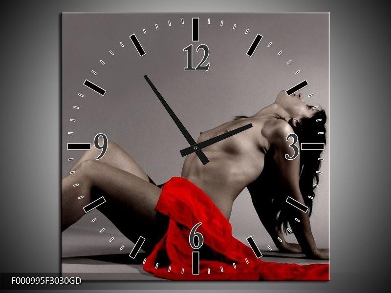 Wandklok op Glas Vrouw | Kleur: Rood, Zwart, Grijs | F000995CGD