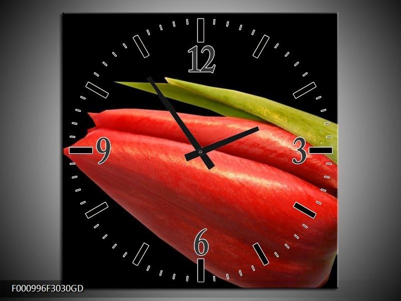 Wandklok op Glas Tulp | Kleur: Rood, Groen, Zwart | F000996CGD