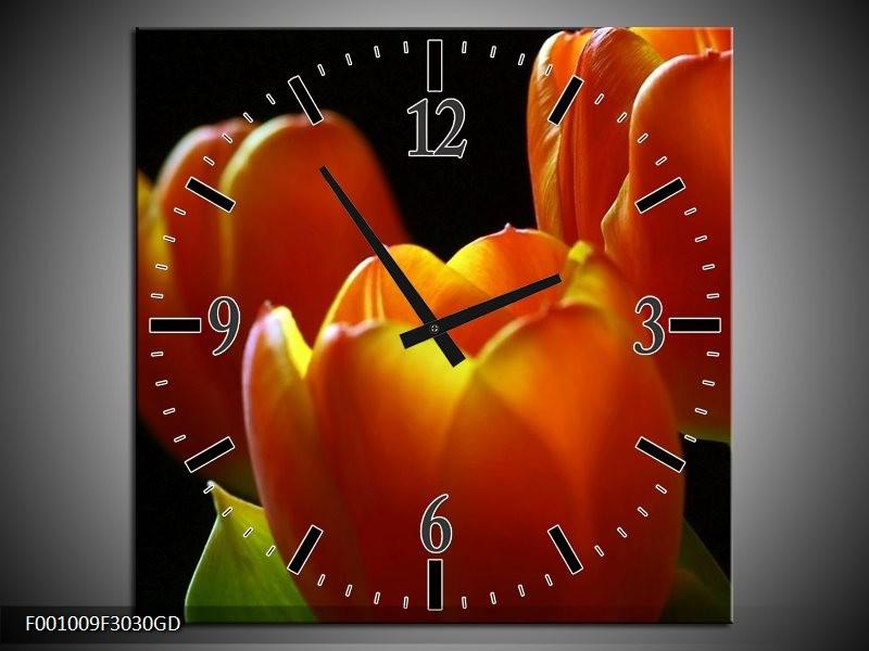 Wandklok op Glas Tulpen | Kleur: Rood, Geel, Oranje | F001009CGD
