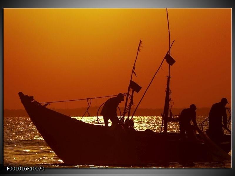 Glas schilderij Boot | Bruin, Oranje