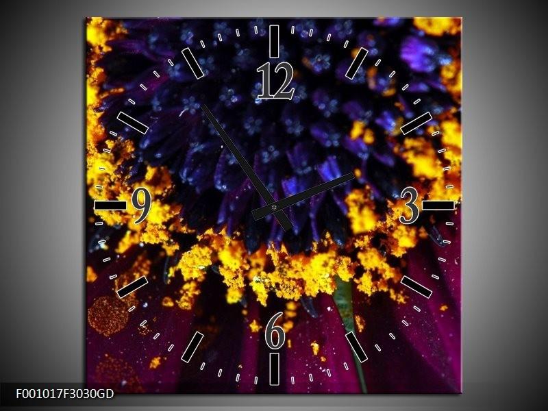 Wandklok op Glas Bloem   Kleur: Paars, Geel, Blauw   F001017CGD