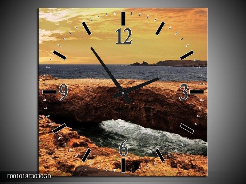 Wandklok op Glas Zee | Kleur: Bruin, Wit | F001018CGD
