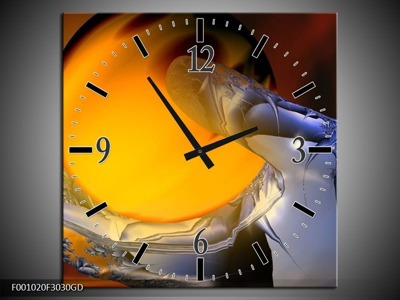 Wandklok op Glas Hand | Kleur: Geel, Zilver | F001020CGD