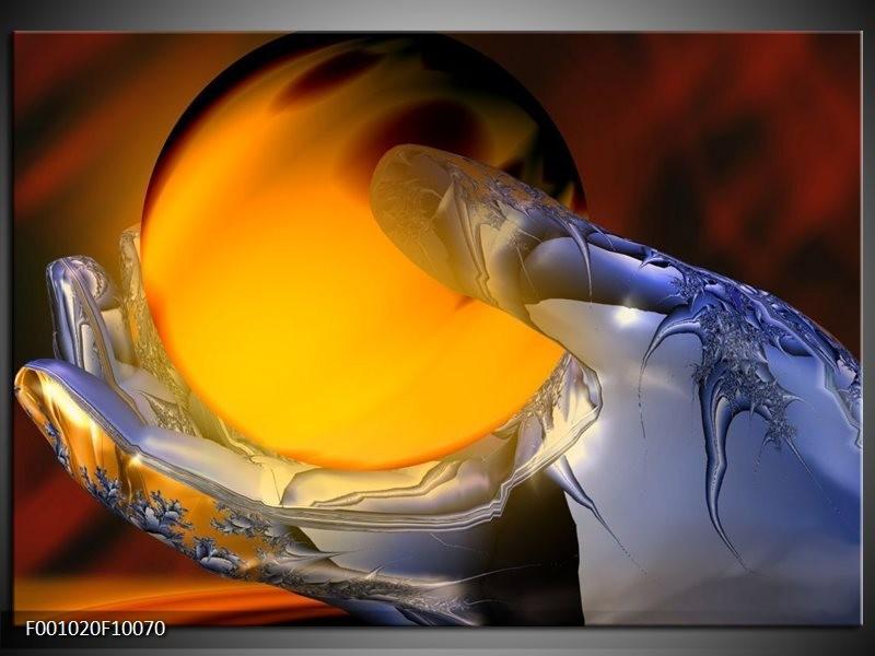 Glas schilderij Hand   Geel, Zilver