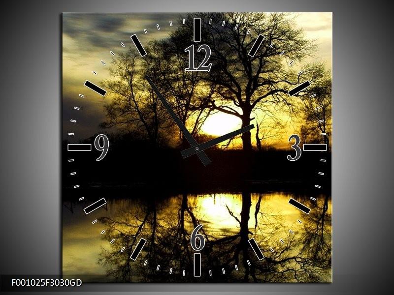 Wandklok op Glas Natuur | Kleur: Groen, Geel, Grijs | F001025CGD