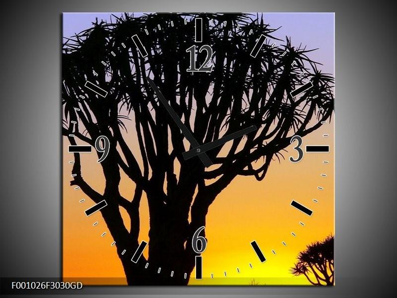 Wandklok op Glas Boom | Kleur: Zwart, Geel, | F001026CGD