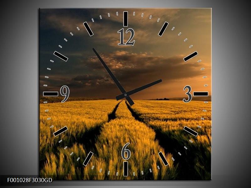 Wandklok op Glas Landschap   Kleur: Geel, Bruin   F001028CGD