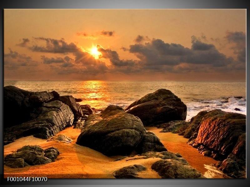 Glas schilderij Zonsondergang | Geel, Grijs