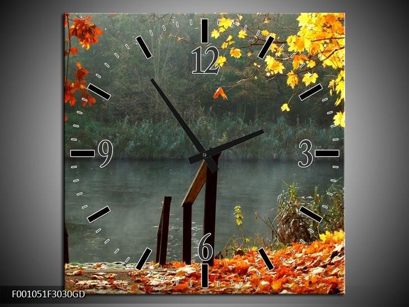 Wandklok op Glas Landschap | Kleur: Geel, Grijs | F001051CGD