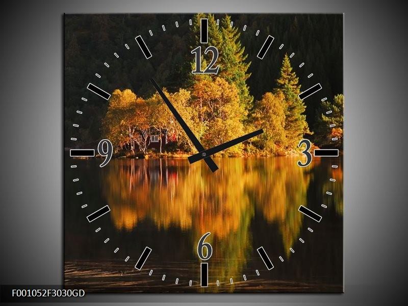 Wandklok op Glas Landschap | Kleur: Geel, Zwart | F001052CGD