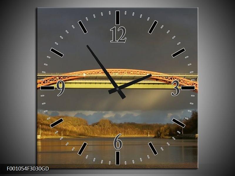 Wandklok op Glas Brug   Kleur: Grijs, Geel, Bruin   F001054CGD