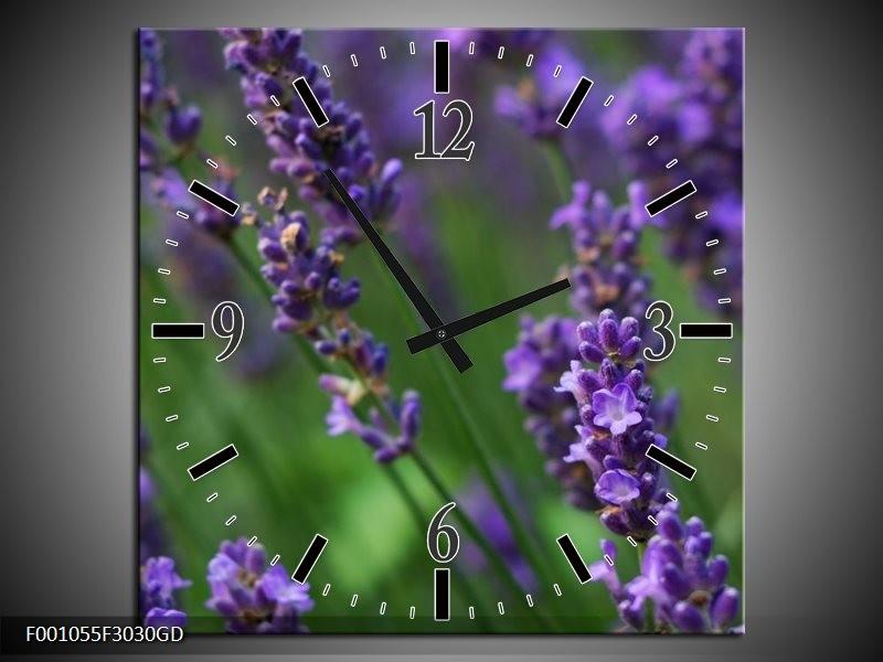 Wandklok op Glas Lavendel | Kleur: Blauw, Zwart, Groen | F001055CGD