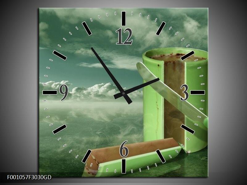 Wandklok op Glas Beker | Kleur: Groen, Grijs | F001057CGD