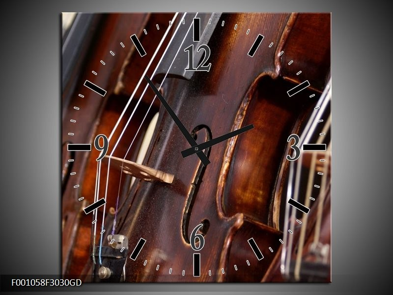 Wandklok op Glas Muziek   Kleur: Bruin   F001058CGD