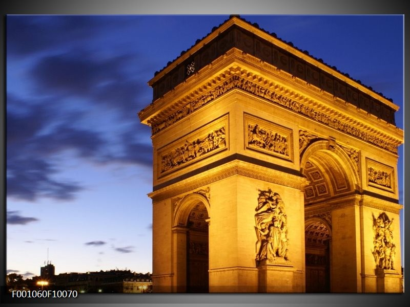 Glas schilderij Parijs | Geel, Blauw, Goud
