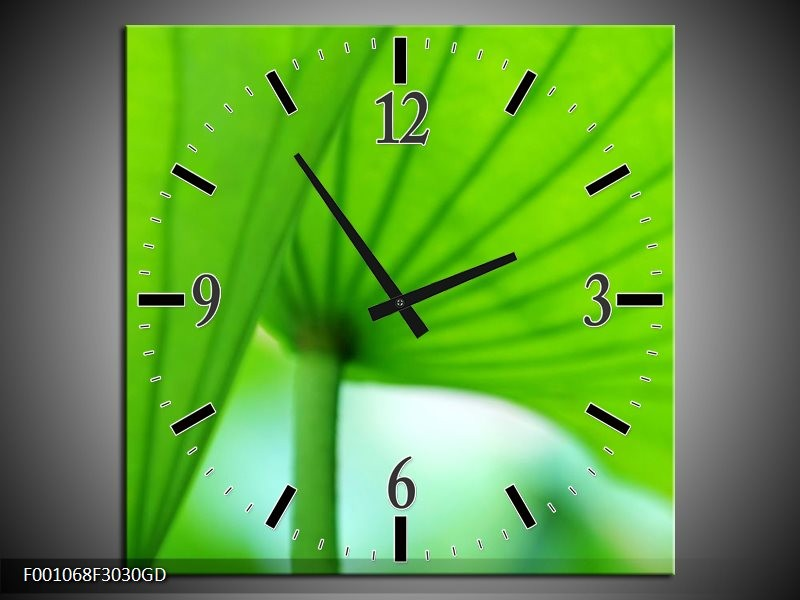 Wandklok op Glas Bloem | Kleur: Groen, Wit | F001068CGD